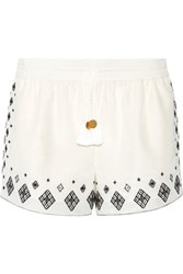 Rachel Zoe Embroidered Silk And Cotton Blend Shorts Ivory