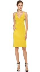 J. Mendel V Neck Sleeveless Dress Moss