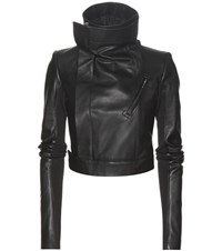 Rick Owens Cropped Leather Jacket Black