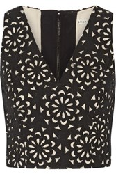 Alice Olivia Lyla Laser Cut Cotton Blend Top Black