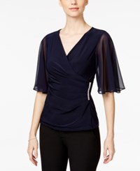 Msk Embellished Flutter Sleeve Blouse Deep Navy