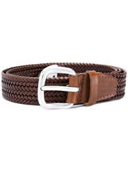 Orciani Woven Leather Belt Brown