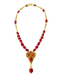 Jose And Maria Barrera Golden Coral Beaded Statement Pendant Necklace Women's