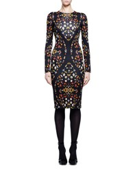 Alexander Mcqueen Obsession Print Long Sleeve Sheath Dress Black Mix