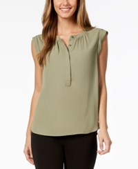 Nine West Cap Sleeve Button Front Top Olive