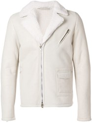 Salvatore Santoro Shearling Zipped Jacket White