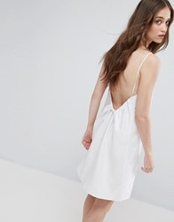 Asos Linen Sundress With Scoop Back And Tie Detail White