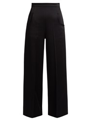 Roland Mouret Ward Satin Wide Leg Trousers Black