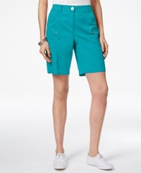 Karen Scott Curved Pocket Shorts Only At Macy's Polished Turquoise