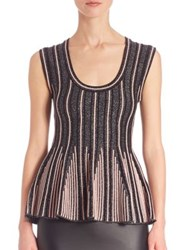 M Missoni Two Tonal Peplum Top Black Pink