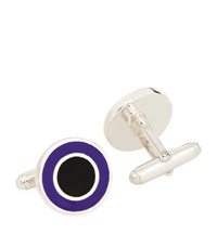 Carrs Of Sheffield Round Enamelled Sterling Silver Cufflinks
