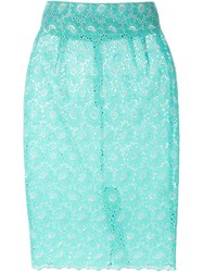 Daizy Shely Floral Lace Pencil Skirt Green