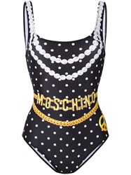 Moschino Chain And Necklace Print Swimsuit Women Polyester Spandex Elastane 42 Black
