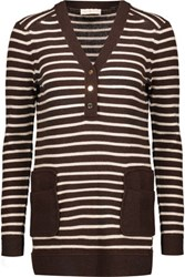 Tory Burch Felicia Striped Knitted Top Dark Brown