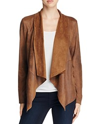 Bagatelle Draped Faux Leather Jacket Tobacco