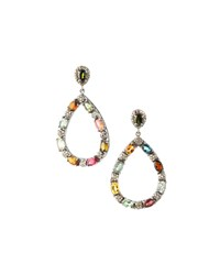 Bavna Multi Tourmaline Teardrop Earrings