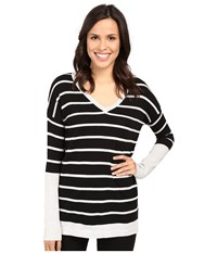 Fate Long Sleeve Stripe V Knit Black Grey Women's Long Sleeve Pullover