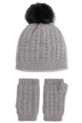 Portolano Cable Knit Cashmere Beanie And Fingerless Gloves Set Light Gray