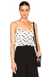 Thakoon Peplum Crop Top In White Geometric Print