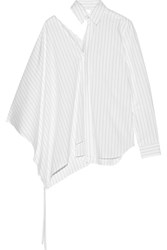Facetasm Cutout Pinstriped Cotton Poplin Shirt White