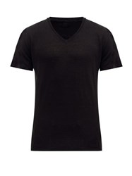 120 Lino V Neck Slubbed Linen Jersey T Shirt Black