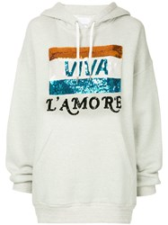 Ashish Oversized Sequined Graphic Hoodie Grey