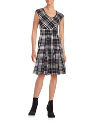 Taylor Plaid Fit And Flare Dress Black Ivory