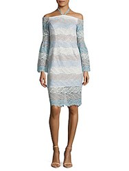 Alexia Admor Embroidered Bell Sleeve Dress Blue Multi
