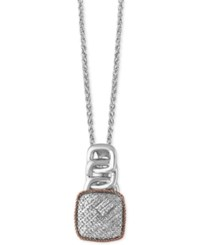 Effy Diamond Pave Pendant Necklace 1 8 Ct. T.W. In Sterling Silver And 14K Rose Gold Two Tone