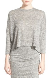 Leith Melange Knit Crop Top Gray