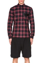 Givenchy Plaid Button Down Shirt In Blac Red Checkered And Plaid