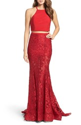 La Femme Women's Jersey And Lace Two Piece Gown