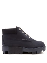 Acne Studios Tinne Track Sole Nubuck Ankle Boots Navy