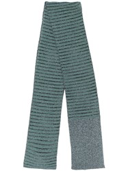M Missoni Long Knitted Scarf Blue