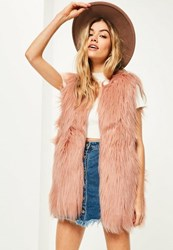 Missguided Pink Curly Faux Fur Gilet Rose