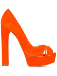 Casadei Platform Pumps Women Leather Suede Kid Leather 36.5 Yellow Orange