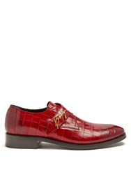 Balenciaga Crocodile Effect Leather Derby Shoes Red