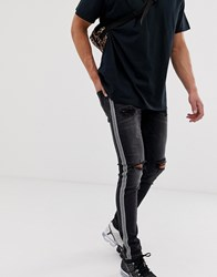 Jack And Jones Skinny Jeans With Checkerboard Side Stripe Black