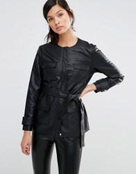 Neon Rose Faux Leather Utility Jacket With Waist Tie Black