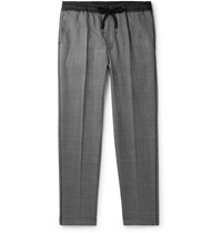Dolce And Gabbana Grey Tapered Shell Trimmed Prince Of Wales Checked Wool Blend Drawstring Trousers Gray