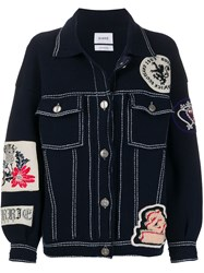 Barrie Patched Knitted Jacket Blue