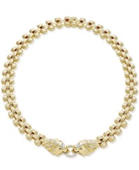 Macy's Diamond Lion Necklace 1 2 Ct. T.W. In 14K Gold Plated Sterling Silver Yellow Gold