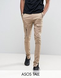 Asos Tall Super Skinny Fit Trousers With Zip Cargo Pockets In Stone Stone