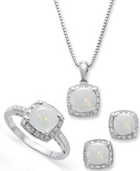 Macy's Sterling Silver Jewelry Set Opal 4 3 4 Ct. T.W. And Diamond Accent Necklace Earrings And Ring Set