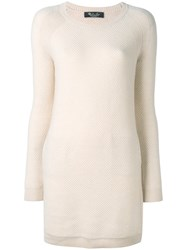 Loro Piana Short Knitted Dress Women Cashmere Goat Suede 38 Nude Neutrals