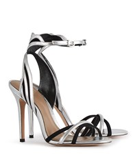 Reiss Scala Leather And Suede Sandals In Silver