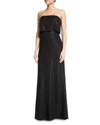 Halston Strapless Popover Beaded Column Gown Black