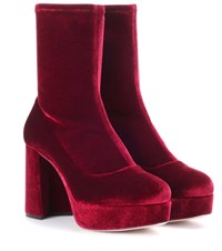 Miu Miu Velvet Plateau Ankle Boots Red