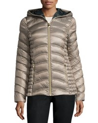 Laundry By Shelli Segal Lightweight Quilted Down Coat Brown