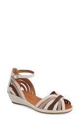Gentle Souls Women's 'Leah' Peep Toe Wedge Sandal Multi Suede